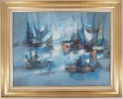 Boats : The Blue Sails - Original oil painting on canvas, Handsigned