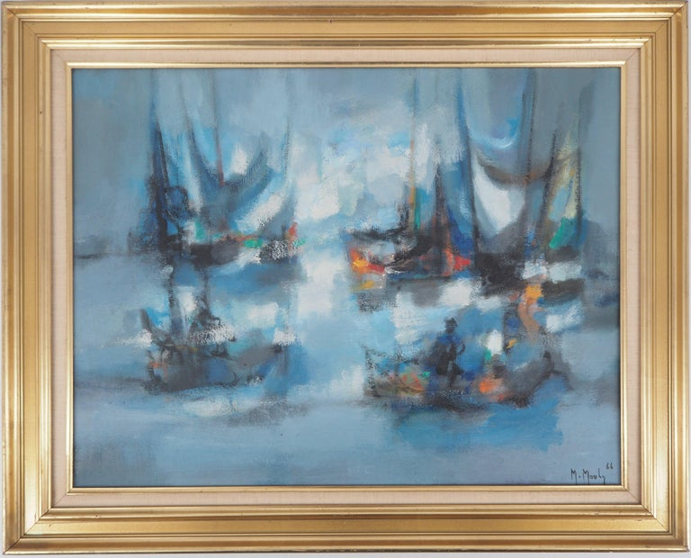 Marcel Mouly Landscape Painting - Boats : The Blue Sails - Original oil painting on canvas, Handsigned