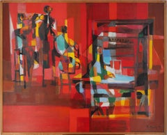 New Orleans Jazz Band on Red Background, Original oil on canvas, handsigned
