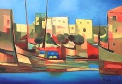 """""""Port du Peche"""" Original Acrylic on Canvas, 1991 by Marcel Mouly-comes with COA"""