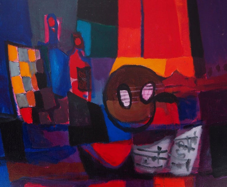 Still Life : Guitar and Bottles - Original oil painting on canvas, Handsigned - Post-Impressionist Painting by Marcel Mouly