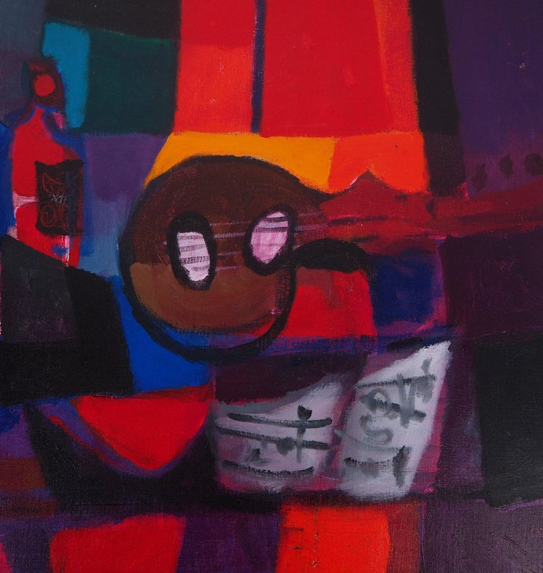 Still Life : Guitar and Bottles - Original oil painting on canvas, Handsigned - Black Still-Life Painting by Marcel Mouly