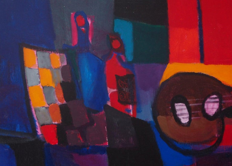 Marcel Mouly (1918 - 2008) Still Life : Guitar and Bottles, 1989  Original oil painting on canvas Handsigned bottom left Signed, titled and dated on the back On canvas 73 x 92 cm (c. 29 x 37 inch)  Very good condition