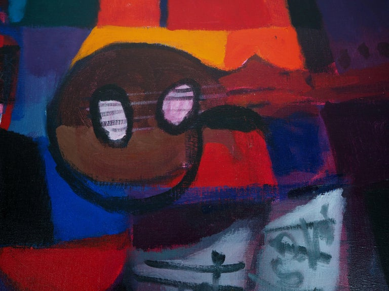 Still Life : Guitar and Bottles - Original oil painting on canvas, Handsigned For Sale 2