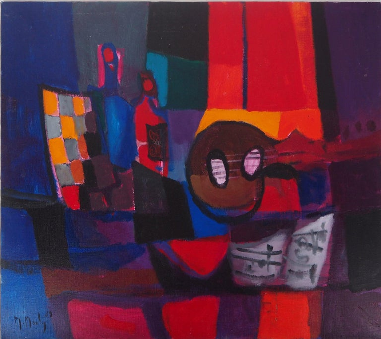 Marcel Mouly Still-Life Painting - Still Life : Guitar and Bottles - Original oil painting on canvas, Handsigned