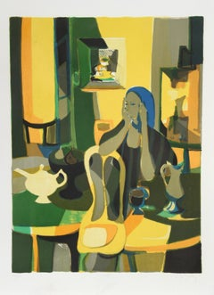 At the Cafe, Lithograph by Marcel Mouly