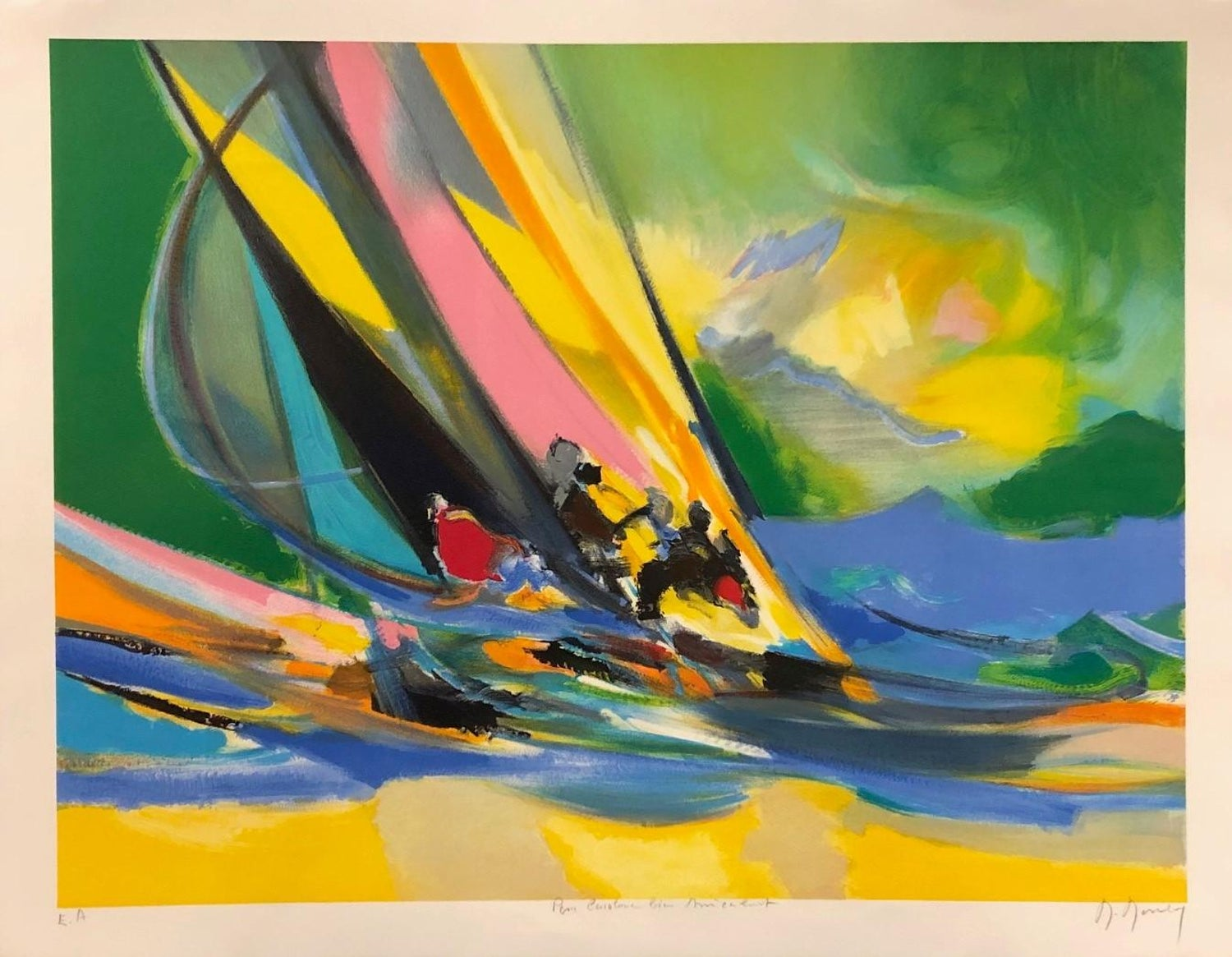 Marcel Mouly Four Yachtsmen Limited Edition Lithograph E A Pencil Signed By Artist For Sale At 1stdibs