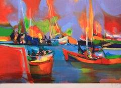 """""""Le Port au Quai Rouge"""" Limited Edition Lithograph, E/A-Pencil-signed by Artist"""