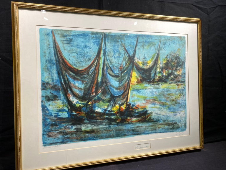 Les Grandes Voiles (The Grand Sails) - Blue Print by Marcel Mouly