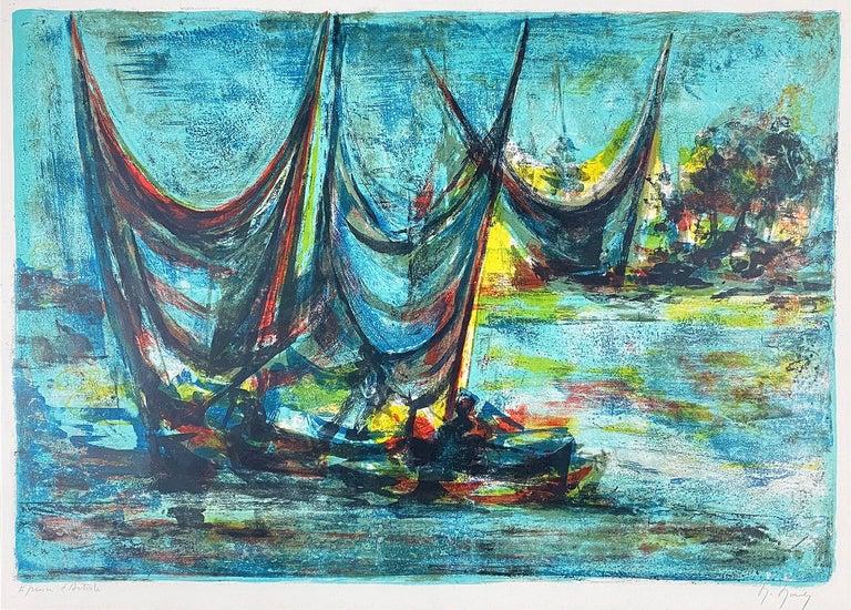 Marcel Mouly Print - Les Grandes Voiles (The Grand Sails)