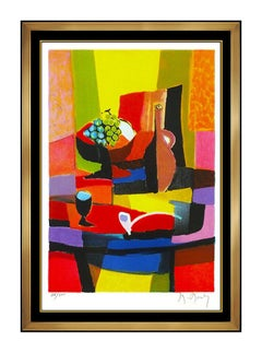 Marcel Mouly Original Color Lithograph Hand Signed Cubism Still Life Modern Art
