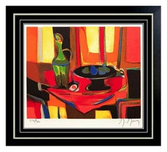 Marcel Mouly Original Color Lithograph HAND SIGNED Still Life Cubism Artwork SBO