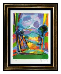 Marcel Mouly Original Lithograph Color Landscape Signed Nuages Mauves Cubism Art
