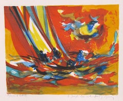 RED YACHTSMEN Signed Original Lithograph, Nautical Scene, Sailing, Expressionist