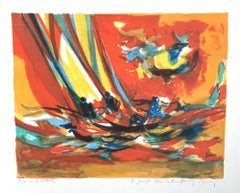 RED YACHTSMEN Signed Original Lithograph, Expressionist Nautical Scene, Sailing