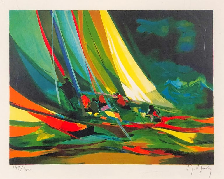 Marcel Mouly Figurative Print - Sailboat