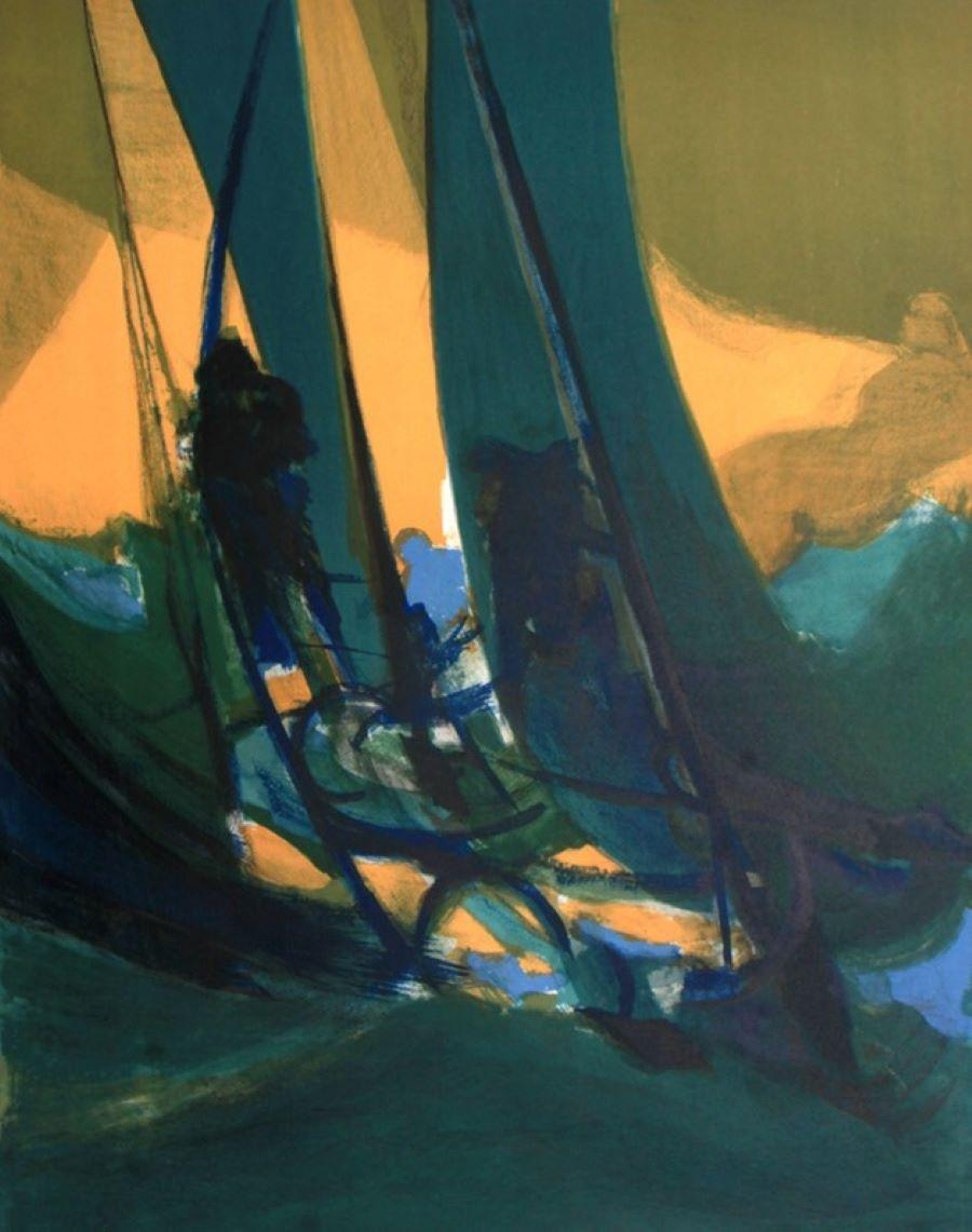 """""""Sailing at Night"""" Limited Edition Lithograph (161/225) Pencil-Signed by Artist"""