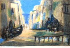 """""""Scene Peniscola"""" Limited Edition Lithograph (79/150) Pencil-Signed by Artist"""