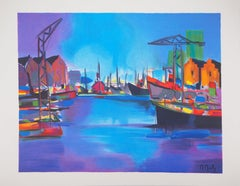 Sunset on the Harbor - Original lithograph