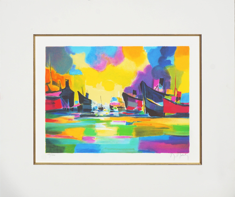 Transats au Moulliage - Fauvist Abstract Landscape Lithograph