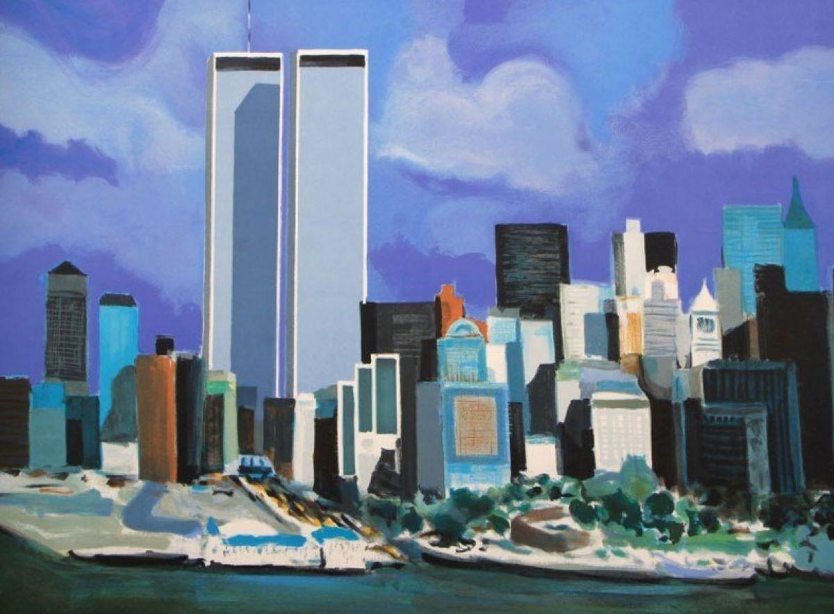 """""""Twin Towers"""" Pencil-Signed and Numbered Limited Edition Lithograph, EA 21/30"""