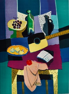 Untitled Interior Scene With Fruit, Guitar, Wine Bottle on Table