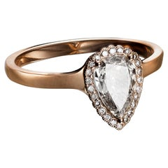 0.70 Carat Champagne Pear Diamond Ring in Rose Gold