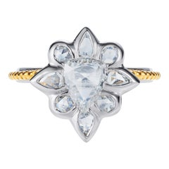1.33 Carat Rose Cut Diamond Ring in Platinum and 24 Karat Gold