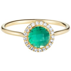 2.16 Carat Checkerboard Green Agate Halo Ring in 18 Karat Yellow Gold