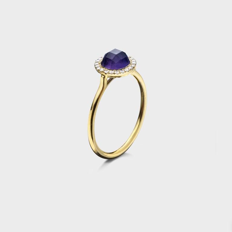 Women's or Men's 2.16 Carat Checkerboard Purple Amethyst Halo Ring in 18 Karat Gold For Sale