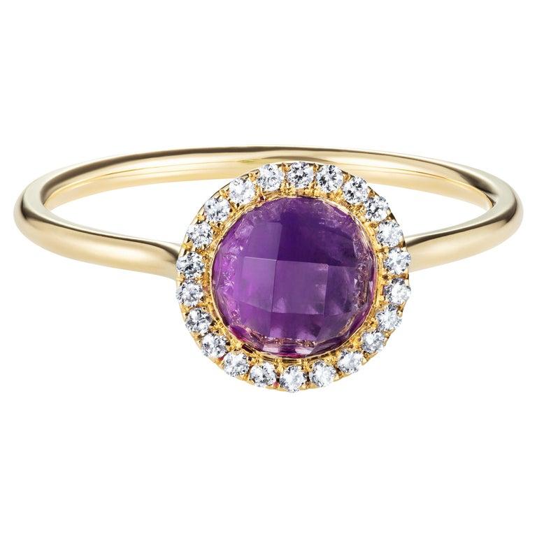 2.16 Carat Checkerboard Purple Amethyst Halo Ring in 18 Karat Gold For Sale