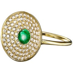 Cabochon Emerald and Diamond Concave Ring in 18 Karat Yellow Gold