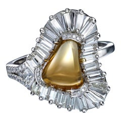 Citrine Loaf Ring with Baguette Diamond Halo in Platinum