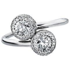 Marcel Salloum Gemini Twin Diamond Halo Ring in Platinum