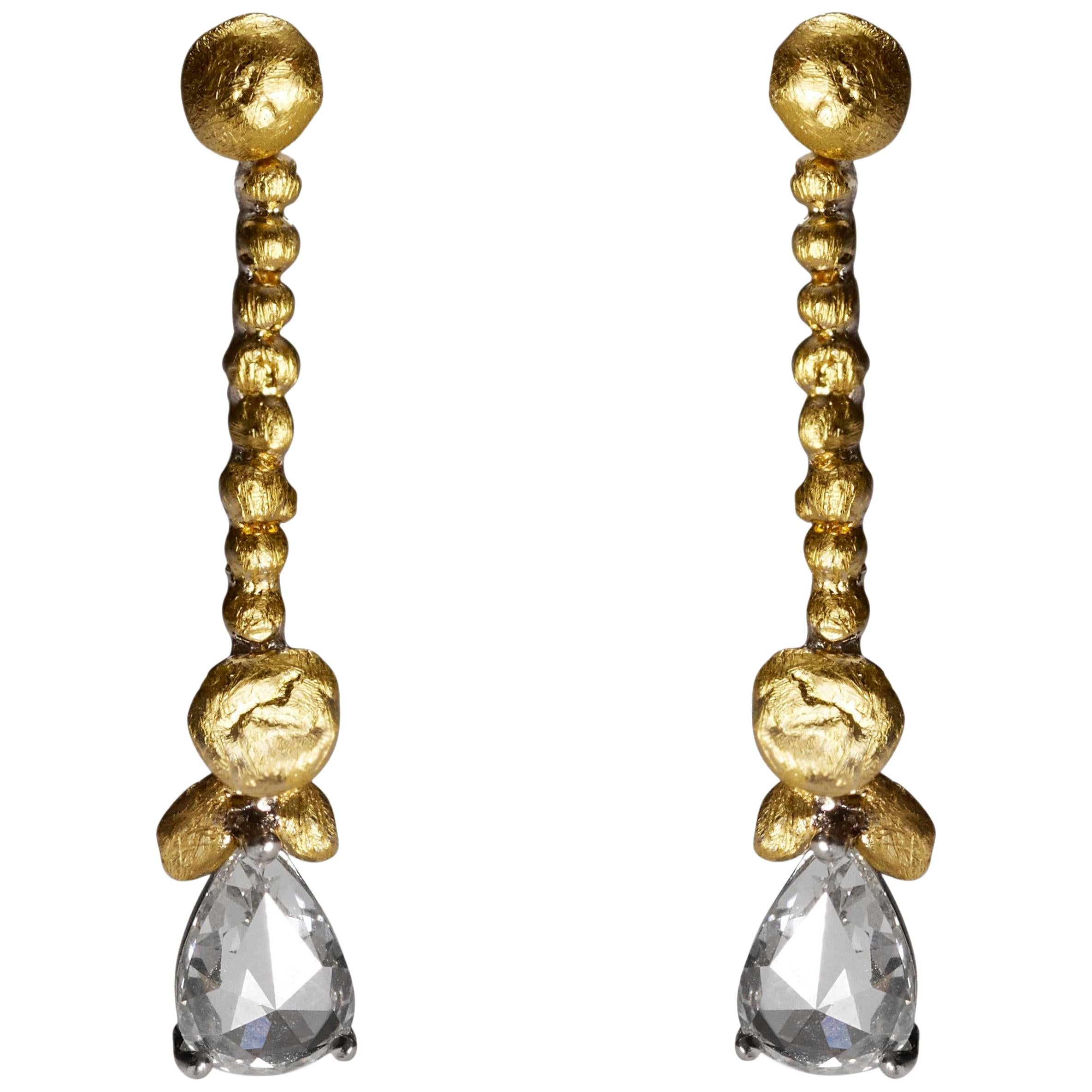 7a301b4254a62 L'or Pear Rose Cut Diamond Earrings in 24 Karat Gold and Platinum