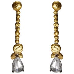 L'or Pear Rose Cut Diamond Earrings in 24 Karat Gold and Platinum