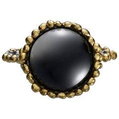Round Onyx Platinum and 24 Karat Gold Ring