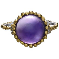 Round Purple Cabochon Amethyst Ring in 24 Karat Gold and Platinum