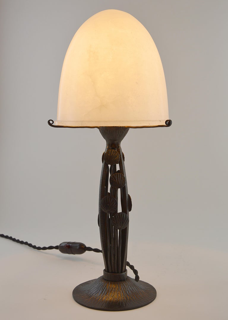 Marcel Vasseur French Art Deco One or Pair of Alabaster Table Lamps, 1920s In Excellent Condition For Sale In Saint-Amans-des-Cots, FR