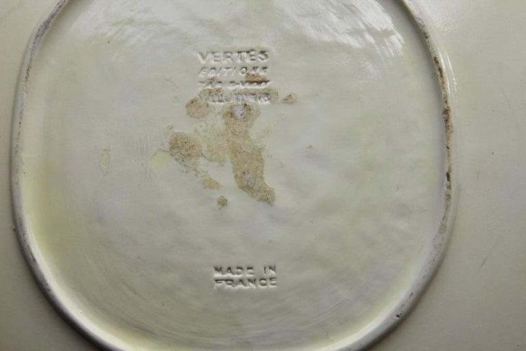 Marcel Vertès Ceramic Plate Tete De Femme, Signed, Edit 8/100, Vallauris, 1950s For Sale 3