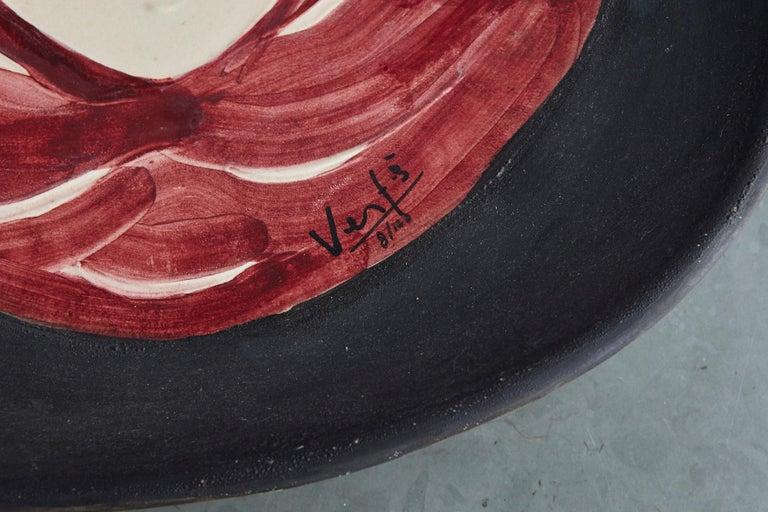 Mid-Century Modern Marcel Vertès Ceramic Plate Tete De Femme, Signed, Edit 8/100, Vallauris, 1950s For Sale
