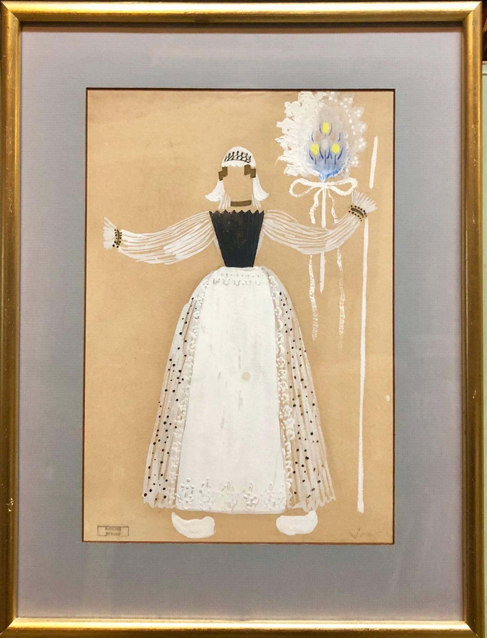 Original Art Deco Theatre Costume Illustration Katinka Gouache Painting, Drawing