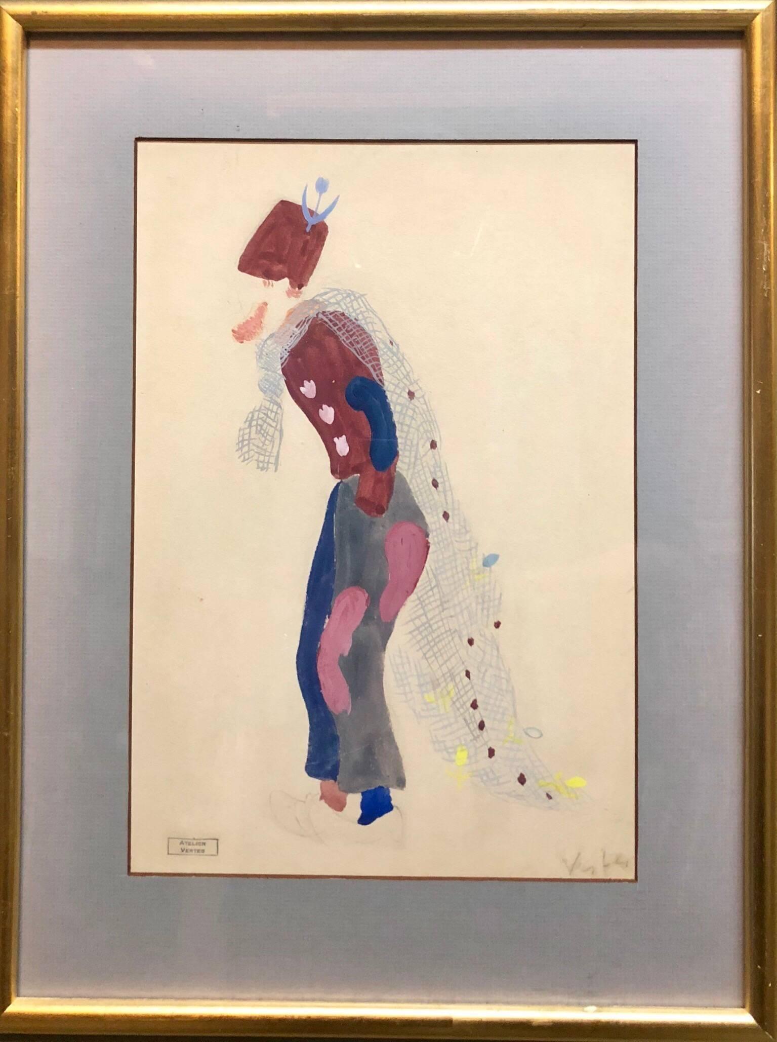 "Original Deco Theatre Costume Illustration ""Katinka"" Gouache Painting, Drawing"