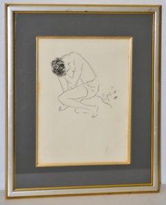 Marcel Vertes Figural Nude Etching Signed c.1940s.