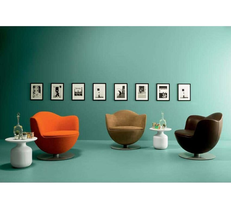 Modern Marcel Wanders Dalia Armchair in Black Leather Upholstery for Cappellini For Sale