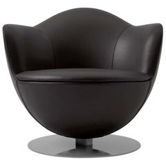 Marcel Wanders Dalia Armchair in Black Leather Upholstery for Cappellini