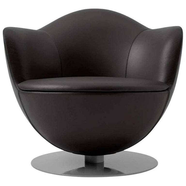 Marcel Wanders Dalia Armchair in Black Leather Upholstery for Cappellini For Sale