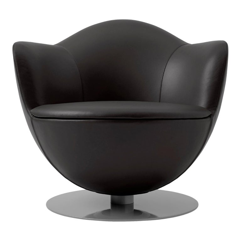 For Sale: Black (Leather 908) Marcel Wanders Dalia Armchair with Fabric or Leather Upholstery for Cappellini