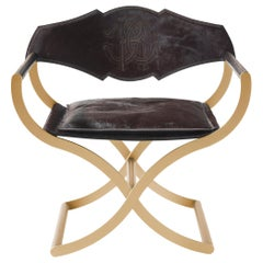 Marcella Armchair in Dark Leather with Metal Base by Roberto Cavalli