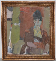 Marcello Avenali Abstract Oil Portrait of a Young Woman c.1950s